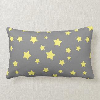 Yellow Stars Gray Pattern Throw Pillow
