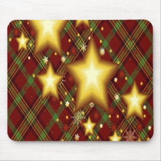 Yellow Stars, Green and Red Background Mouse Pad