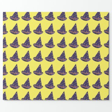 Halloween Themed Yellow Stars on Purple Wizard Hats Halloween Wrapping Paper