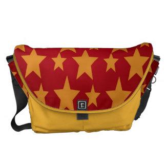 Yellow Stars, Red ,Rickshaw Large Messenger Bag