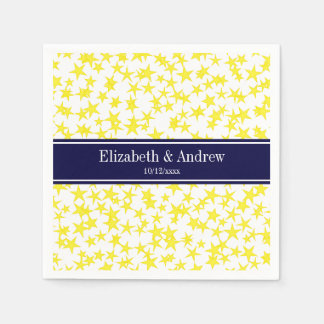 Yellow Stars White BG, Navy Blue Name Monogram Napkin