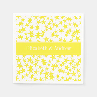 Yellow Stars White BG, Yellow Name Monogram Paper Napkin
