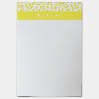 Yellow Stars White BG, Yellow Name Monogram Post-it Notes