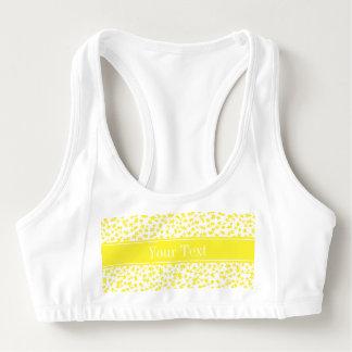 Yellow Stars White BG, Yellow Name Monogram Sports Bra