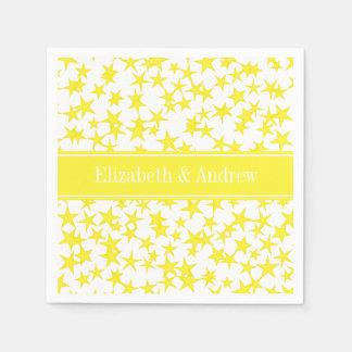 Yellow Stars White BG, Yellow Name Monogram Standard Cocktail Napkin