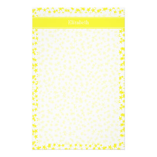 Yellow Stars White BG, Yellow Name Monogram Stationery