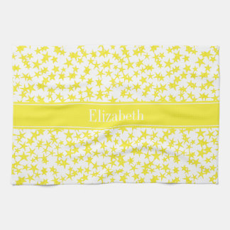 Yellow Stars White BG, Yellow Name Monogram Towel