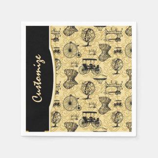 Yellow Steampunk Pattern Napkins