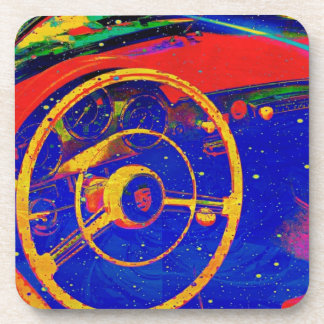 Yellow Steering Wheel Abstract Beverage Coaster