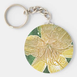 Yellow stella de oro daylily flower key chain