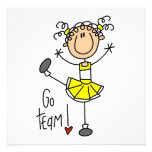 Yellow Stick Figure Cheerleader T-shirts and Gifts Custom Announcement