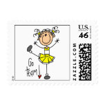 Yellow Stick Figure Cheerleader T-shirts and Gifts Stamp