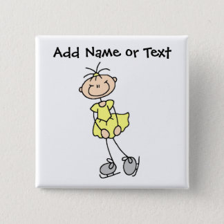 Yellow Stick Figure Ice Skater Button