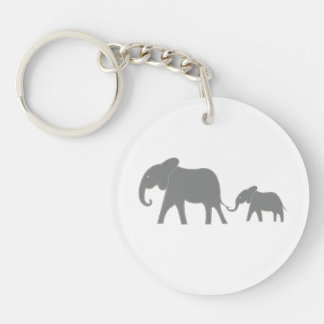 Yellow Stitched Mama and Baby Elephant Key Chain