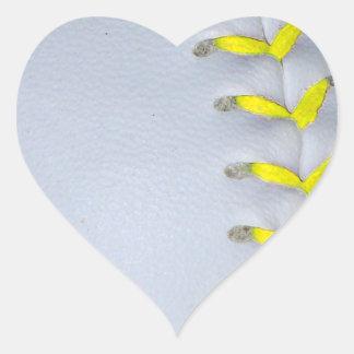 Yellow Stitches Baseball / Softball Heart Sticker