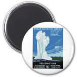 Yellow Stone Park - Old Faithful Geyser 2 Inch Round Magnet