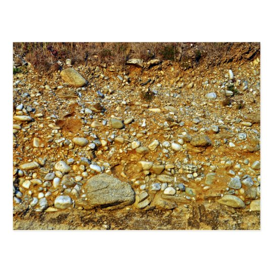 Yellow stones and rocks in landscape postcard