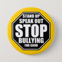 Yellow Stop Bullying Pinback Button