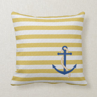 Yellow Strip Nautical Pillow with Blue Anchor
