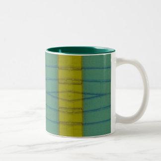 yellow stripe abstract Two-Tone coffee mug