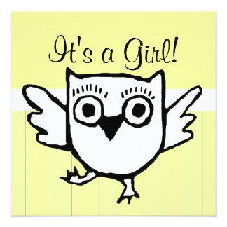 Yellow Stripe Baby Owl Shower Invitation
