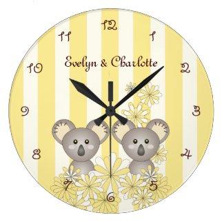 Yellow Stripe Cute Twin Animal Koala Kids Name Large Clock.