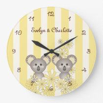 Yellow Stripe Cute Twin Animal Koala Kids Name Large Clock