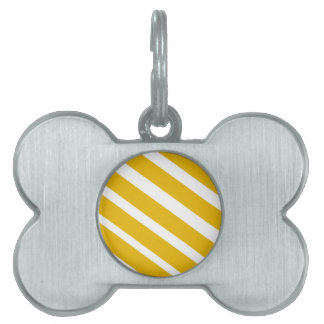Yellow stripe diagonal chevron mustard pet tag