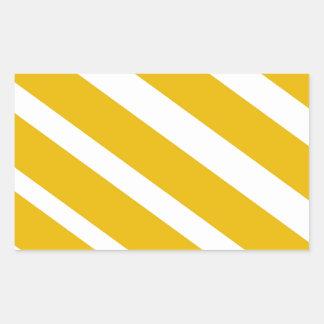 Yellow stripe diagonal chevron mustard rectangular sticker