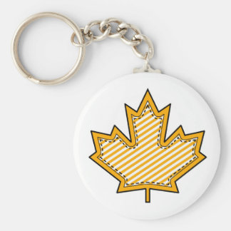 Yellow Striped  Applique Stitched Maple Leaf Keychain