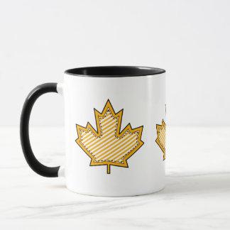 Yellow Striped  Applique Stitched Maple Leaf Mug