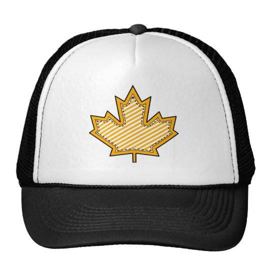 Yellow Striped  Applique Stitched Maple Leaf Trucker Hat