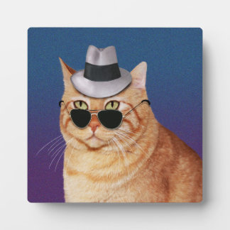 Yellow Striped Cat with Sunglasses and Hat Plaque