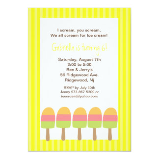 Yellow Striped Ice Pops Birthday Invitation