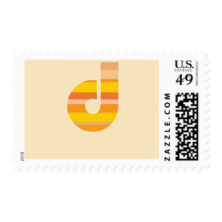 Yellow Striped Monogram - Letter D Postage