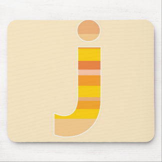 Yellow Striped Monogram - Letter J Mouse Pad