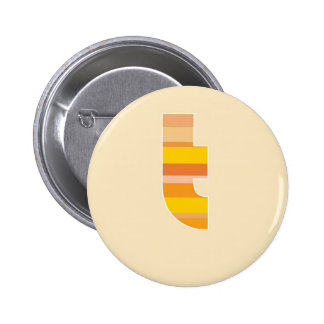 Yellow Striped Monogram - Letter T Pinback Buttons
