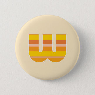 Yellow Striped Monogram - Letter W Pinback Button