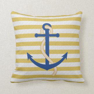Yellow Striped Nautical Throw Pillow Blue Anchor