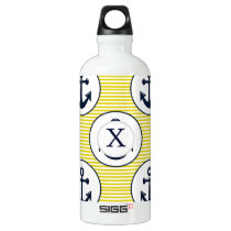 yellow stripes , blue anchor nautical pattern aluminum water bottle