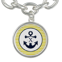 yellow stripes , blue anchor nautical pattern bracelet
