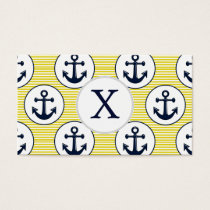 yellow stripes , blue anchor nautical pattern business card