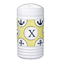 yellow stripes , blue anchor nautical pattern cooler