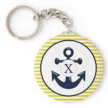 yellow stripes , blue anchor nautical pattern keychain
