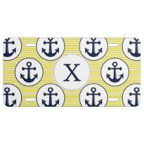 yellow stripes , blue anchor nautical pattern license plate