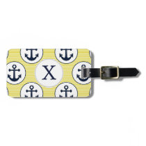 yellow stripes , blue anchor nautical pattern luggage tag
