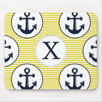 yellow stripes , blue anchor nautical pattern mouse pad