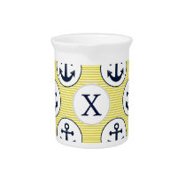 yellow stripes , blue anchor nautical pattern pitcher