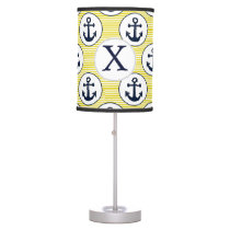 yellow stripes , blue anchor nautical pattern table lamp