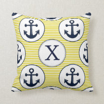 yellow stripes , blue anchor nautical pattern throw pillow